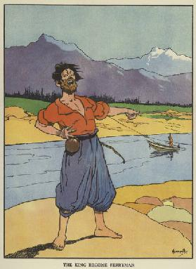 The king become ferryman (colour litho)