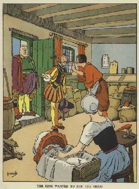 The king wanted to buy the child (colour litho)