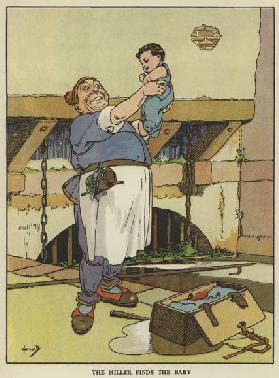 The miller finds the baby (colour litho)