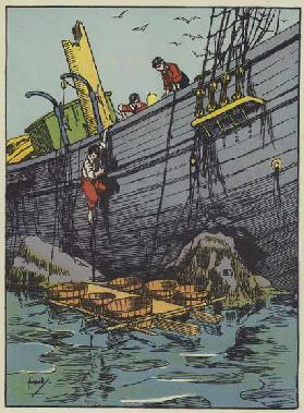The launch of the raft (colour litho)