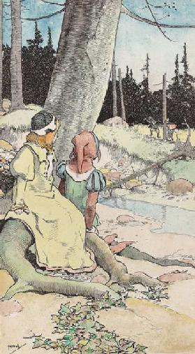 The Babes in the wood, c.1900 (w/c & pen & ink on paper)