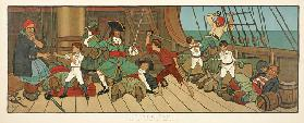 "The Defeat of the Pirates from ""Peter Pan"", pub.1907 (colour litho)"