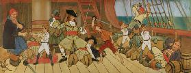 The Lost Boys in Combat with the Pirates and Peter in the Final Duel with Captain Hook, illustration