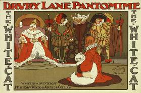 The White Cat by J. Hickory Wood and Arthur Collins, Drury Lane pantomime poster (colour litho)