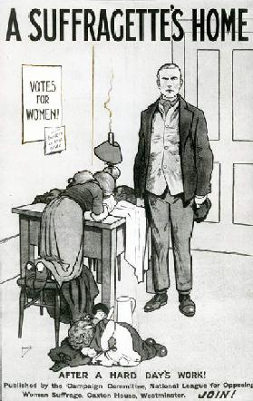 A Suffragettes Home, After a Hard days work!, c.1917 (litho)