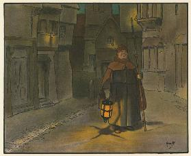 Elizabethan London at night (colour litho)