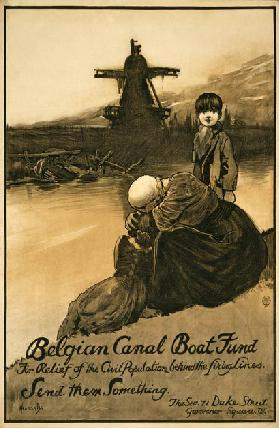 Fundraising campaign for Belgian Canal Boat Fund, pub. 1914-18 (colour litho)