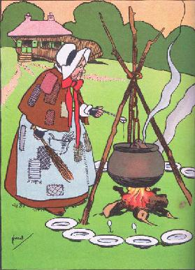 Cooking the broth, from Blackies Popular Nursery Rhymes published by Blackie and Sons Limited, c.192
