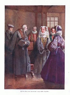 Queen Mary and Knot had many talks together, 1910 (colour litho)