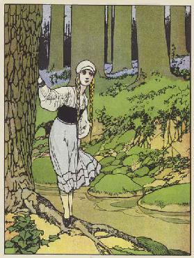 Snow-Drop in the wood (colour litho)