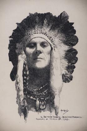 Self Portrait with Indian headdress, 8 March 1939 (pen & ink on board)