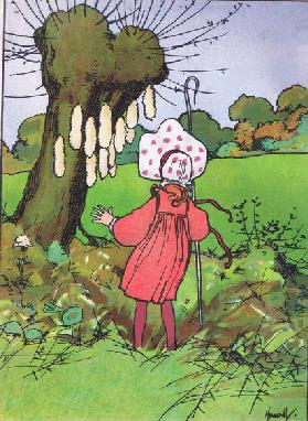 She finds their tails (Little Bo Peep), from Blackies Popular Nursery Rhymes published by Blackie an