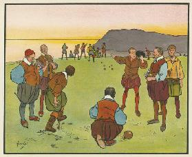 Sir Francis Drake and Sir John Hawkins at bowls (colour litho)