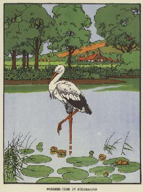Summer-time in Storkland (colour litho)