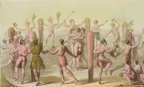 Indigenous Natives Doing a Ceremonial Dance (engraving)