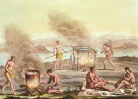 Indigenous natives from Florida preparing and cooking food (engraving)
