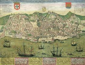 Map of Lisbon, from 'Civitates Orbis Terrarum' by Georg Braun (1541-1622) and Frans Hogenberg (1535-