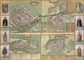 Maps of Galway, Dublin, Limerick, and Cork, from 'Civitates Orbis Terrarum' by Georg Braun (1541-162
