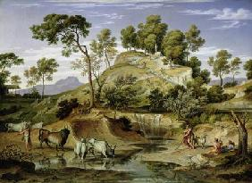 Landscape with Shepherds and Cows and at the Spring
