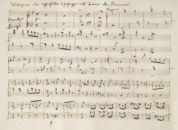 Ouverture from the score of ''Spring'', from the oratorio ''The Seasons'', first performed April