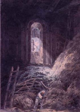 A Barn, Interior of the Ruined Refectory of St. Martin's Priory, Dover