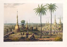 Scene from the Upper Terrace of the Great Pagoda at Rangoon, to the South East, engraved by H. Pyall