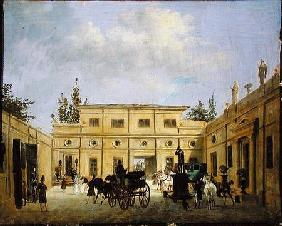Carriages in the Courtyard of the Chateau de Neuilly