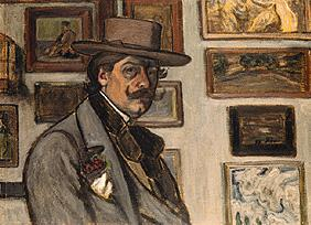 Rippl-R�nai, J�zsef : Self-portrait with a brown...