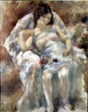 Pascin, Jules : Young Woman Seated with Fl...