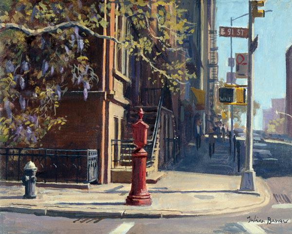 91st Street at Lexington Avenue (oil on canvas)