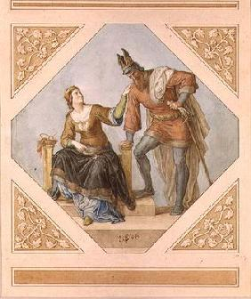 Brunhilde and Hagen, illustration for 'The Niebelungen' by Richard Wagner (1813-83), 1846