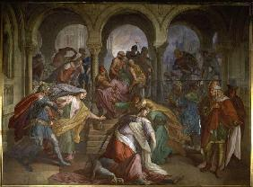 Kriemhilds death. (hall of the revenge (Nibelungs halls) of the residence in Munich)