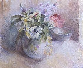 Vase of mixed spring flowers (w/c)