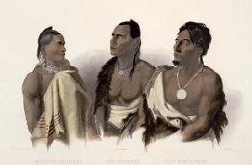 A Missouri Indian, an Oto Indian and the Chief of the Puncas, plate 7 from 'Travels in the Interior