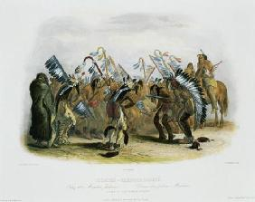 Ischoha-Kakoschochata, Dance of the Mandan Indians, plate 25 from volume 1 of `Travels in the Interi