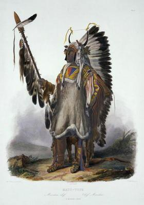 Mato-Tope, a Mandan Chief, plate 13 from Volume 2 of 'Travels in the Interior of North America', eng