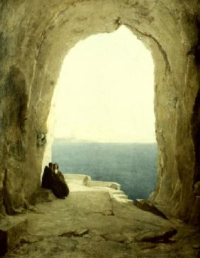 Blechen, Karl Eduard Ferdinand : Grotto with Two Monks...