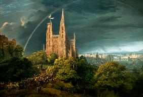 Schinkel, Karl Friedrich : Cathedral (town at the riv...
