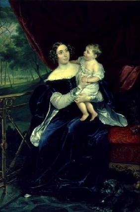 Portrait of Countess O.I. Orlov-Davidov with her Daughter
