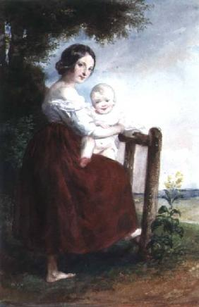 Girl holding a Baby: Landscape Background