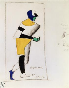 Sportsman. Costume design for the opera Victory over the sun by A. Kruchenykh 1913