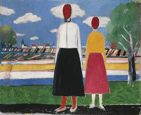 K.Malevich, Two figures in a landscape