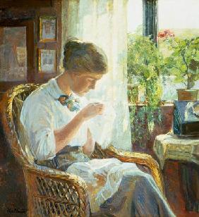 Larsen, Knud Erik : Sewing young woman at the ...