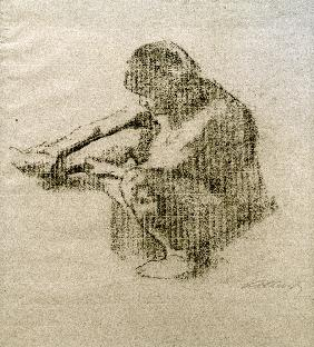 Seated woman in left profile