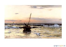 artistic postcards : Sonnenuntergang am Meer vo...