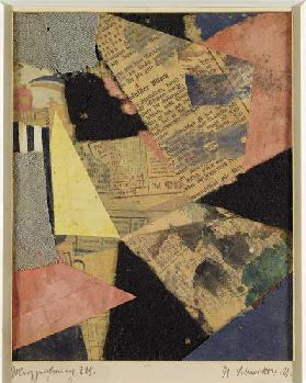 Merzzeichnung 229, 1921 (paper and textile collage on card)