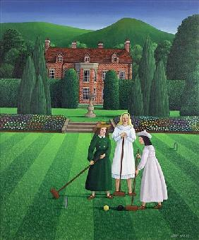 The Croquet Match, 1986 (acrylic on linen)