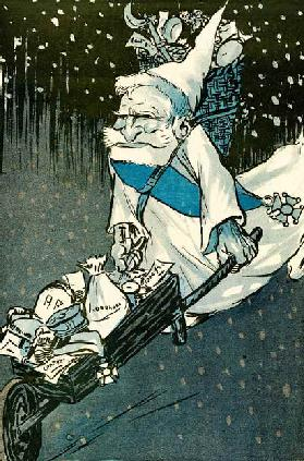 The Christmas for big kids - French President Emile Loubet dressed as Santa Claus with a wheelbarrow