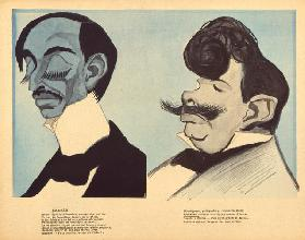 Maurice Barres and Paul Adam, caricatures from LAssiette au Beurre, No.101, 7 March, 1903 (colour li