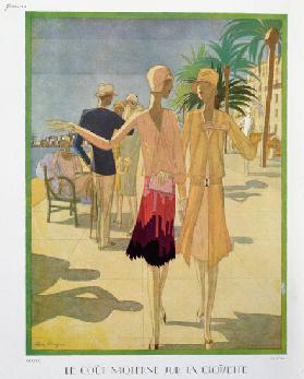 Fashionable people strolling on the Croisette Promenade in Cannes, illustration from Femina Magazine